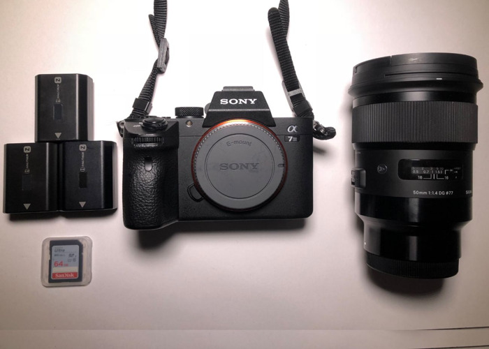 Sony A7 iii + Sigma 50mm E-Mount + 3x Batteries + 64gb - 1