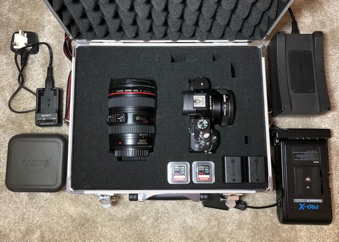 Sony A7s + Canon 24-105 Lens + Long-Life Battery + SD Cards - 1
