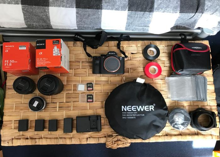 Sony A7S MKii Shooting Kit PLUS Lenses, Mic, Tripod, Rig, small LED - 1