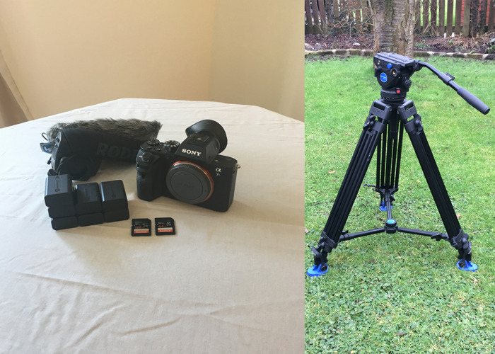 Sony a7sii (a7s2) + Benro Tripod (BV6 Pro) +  Rode VideoMic Pro (with Windshield) + 6 x Batteries + 128GB Card + 64GB Card - 1