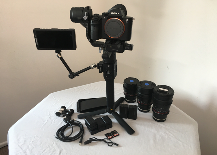 Rent Sony a7sii (a7s2) + DJI Ronin-S Gimbal + Samyang Cine Lenses (24mm,  35mm, 85mm) + Onboard Camera Monitor (Feelworld 5 7