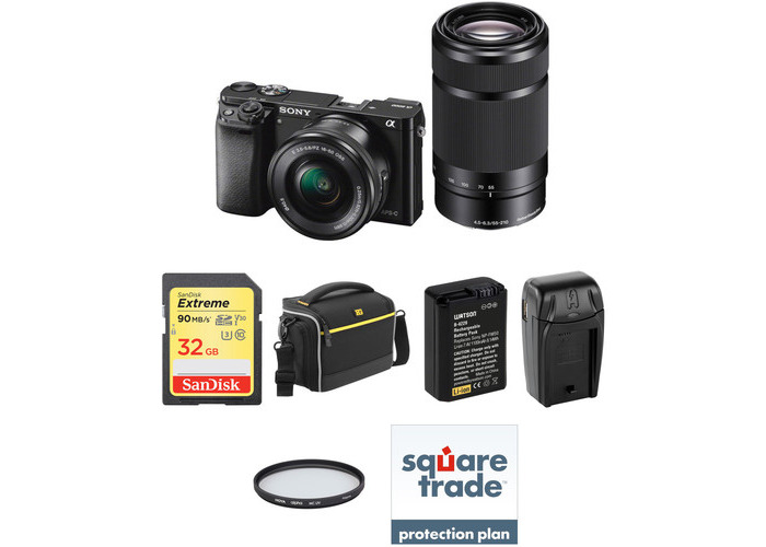 Sony Alpha a6000 Mirrorless Digital Camera with 16-50mm and 55-210mm Lenses Deluxe Kit (Black) - 1