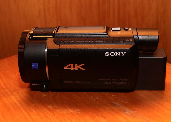SONY FDR-AX53 4K Camcoder + 65gb Memory  + 2 battery+ Bag - 1