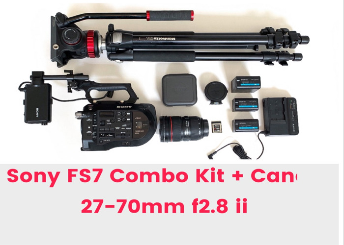 Sony FS7 Camera Kit + Canon 24-70mm 2.8 +Tripod +Mic 5 4k - 1