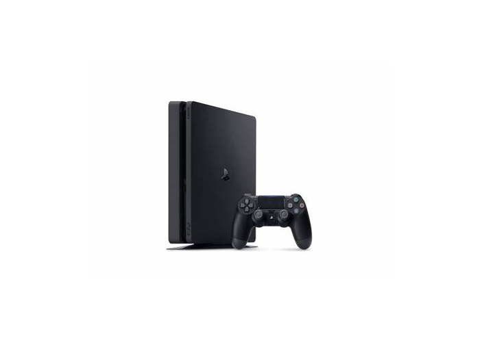 Black Sony PlayStation 4 Slim and controller - 1