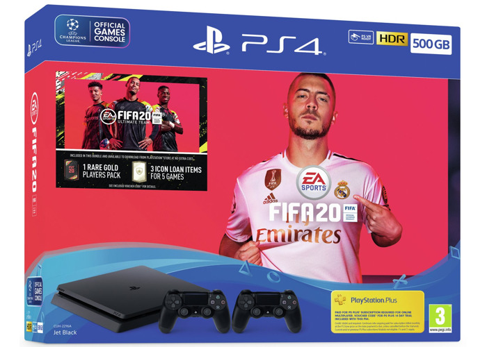Sony PS4 500GB Console, FIFA 20 & 2 Controller Bundle - 1