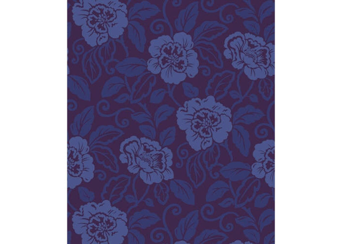 Sophie Conran Belle Genuine Velvet Flock Wallcoverings Royal Blue 980508 - 1
