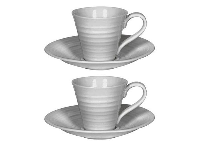 Sophie Conran Grey Espresso Cup & Saucer Set Of Two - 1