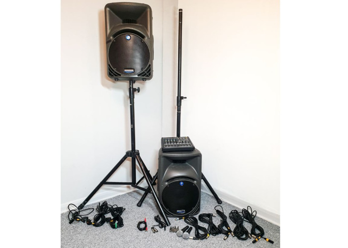 Speakers for Party Mixer, 2x Microphons - Portable PA Sound - 1