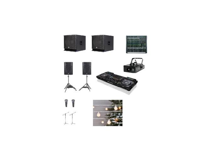 Speakers, Pioneer CDJ, subwoofer, fogger machine, microphone - 1