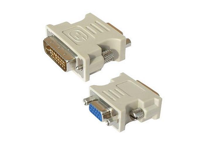 Spire DVI-I Male to VGA Female Converter Dongle, White - 1