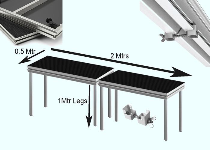 Stage Decks 2 Mtr x 0.5 Mtr with 1 Mtr legs, DJ table, Bar - 1
