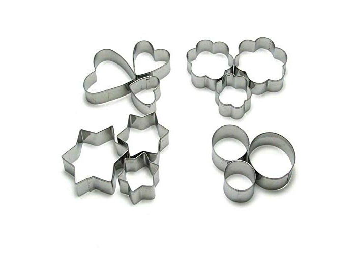 Star Heart Flower Round Cookie Cutter Stainless Steel Pastry Baking Mold CAKE-12 Pcs Metal for Every Size (1, Flower) - 1