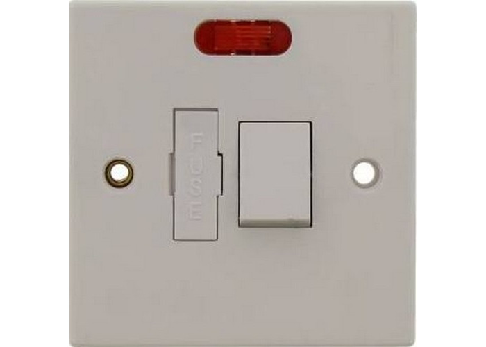 Status S13AFSSWNB8 Spur Switch 1 Gang 13 amp Fused Switched with Neon Indicator White - 1