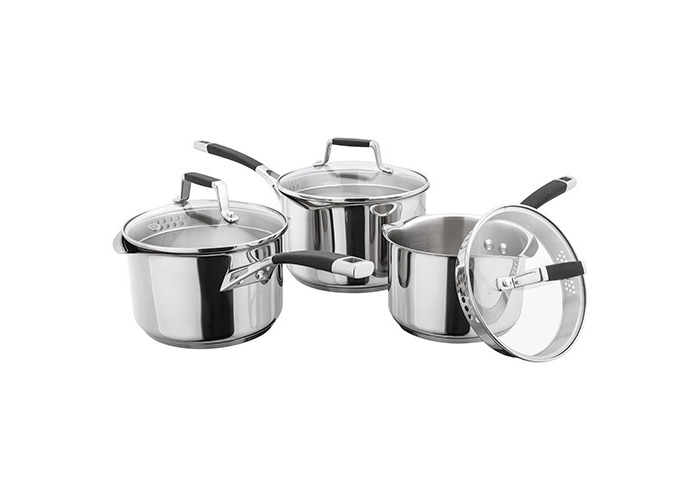 Stellar 5000 Induction 3 Piece Draining Lid Saucepan Set - 1