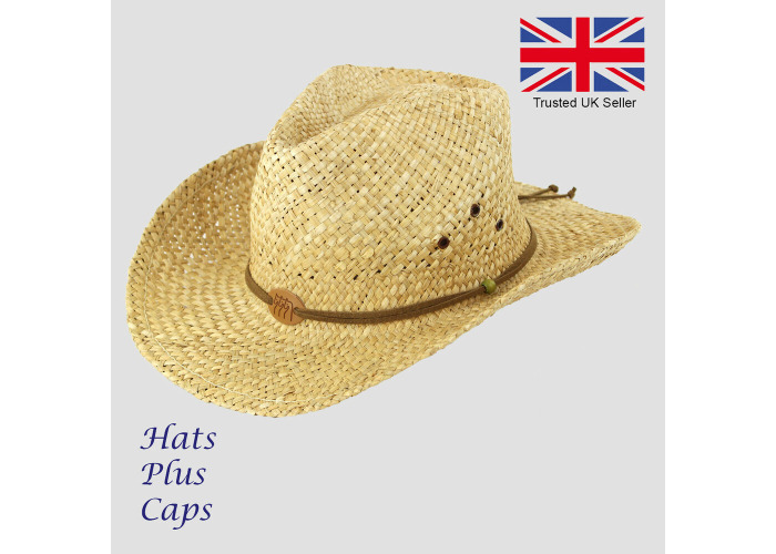 40b6f7595 Buy Straw Cowboy Hat Summer Beach Holiday Wide Brim Stetson Style ...