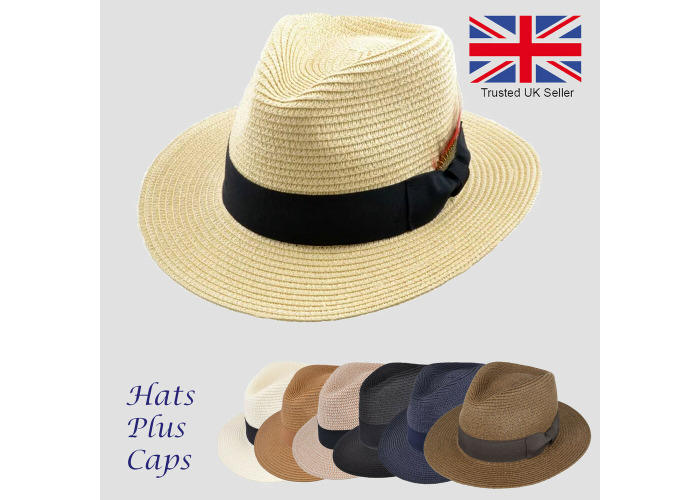 85ee0ac2 Straw Fedora Summer Sun Wide Brim Trilby Panama Style Packable Beach  Holiday Hat - 1