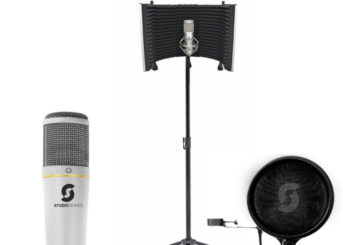 Studio microphone with stand and vocal booth  - 1