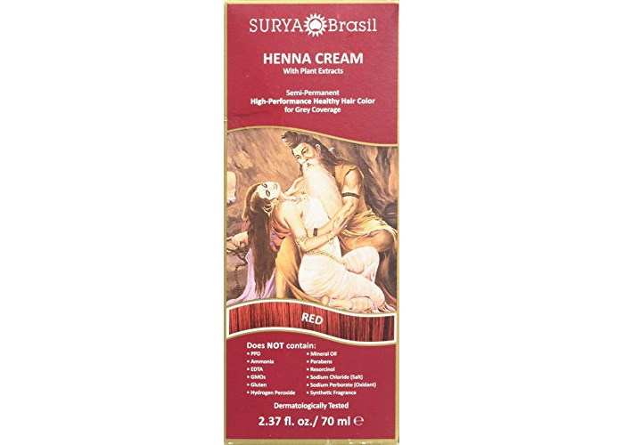 Surya Brasil - Henna Cream Hair Coloring with Organic Extracts Red - 2.31 fl. oz. - 1