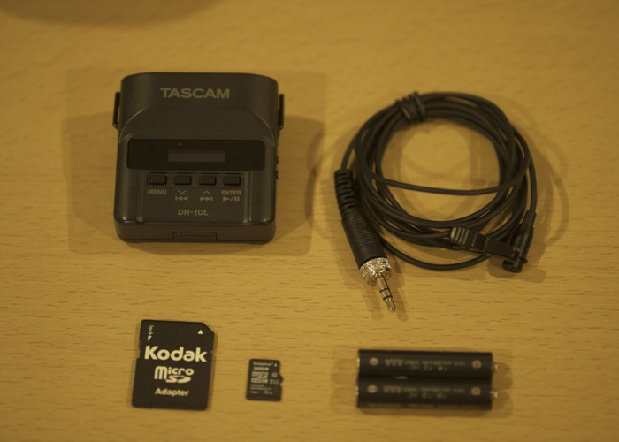 Tascam DR-10L + Lapel Mic + 32GB Card + Batteries - 1