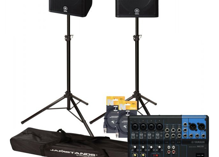 Technician + Yamaha DXR15 active PA system with 12 track digital mixer, mics and stands - 1
