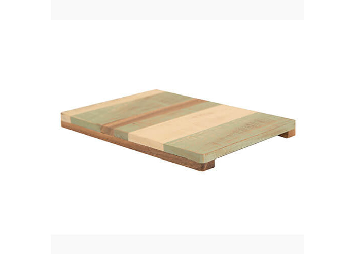 T&G Pride of Place Large Painted Trivet Green, Cream & Acacia - 2