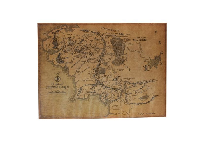 The Lord Of The Ring Middle Earth Map Retro Kraft Paper Poster - 1