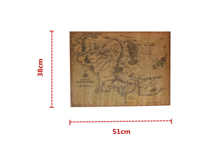 The Lord Of The Ring Middle Earth Map Retro Kraft Paper Poster - 2
