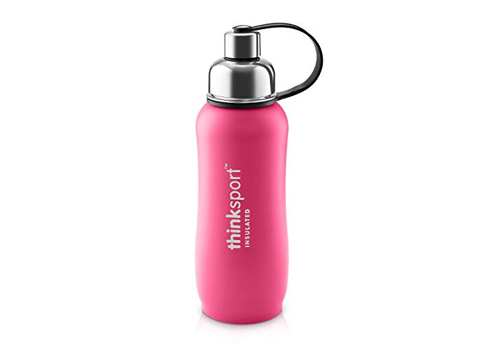 Thinksport 750ml Insulated Sports Bottle, Coated Dark Pink, 25 oz - 1