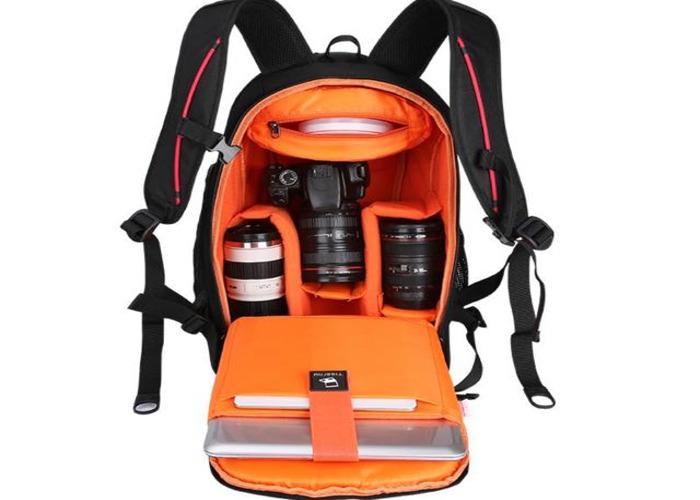 Tigernu Anti theft Black/Orange Camera Backpack - 2