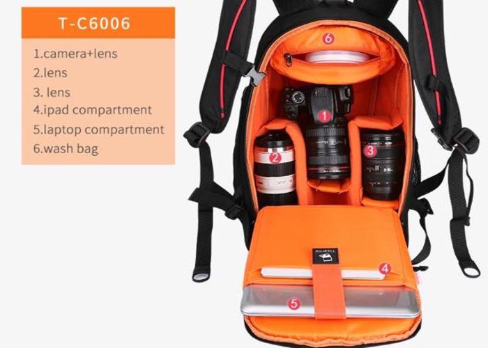 Tigernu Anti theft Black/Orange Camera Backpack - 1