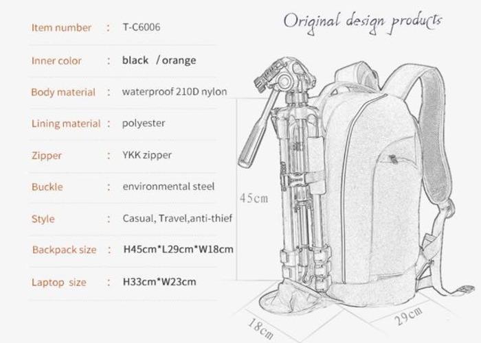 Tigernu Camera Anti theft backpack Black/Black - 2
