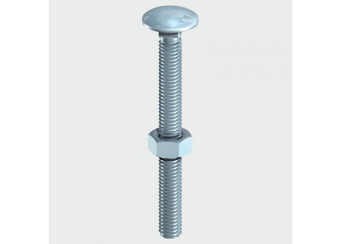 TIMco 08100CB Carriage Bolt and Hex Nut BZP 8.0 x 100mm Box of 50 - 1
