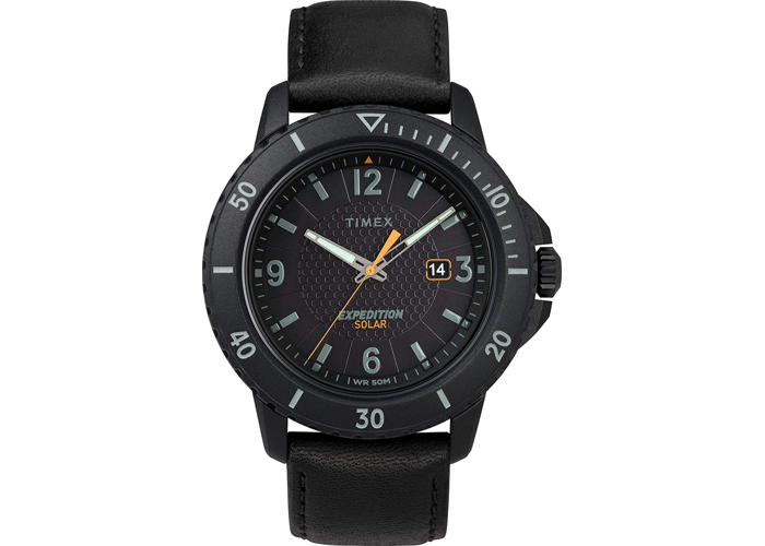 Timex Mens Analogue Classic Solar Powered Watch with Leather Strap - 1