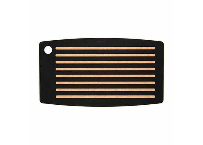 TopGourmet Bread Board Cutting and Chopping Board, Compressed Wood Composite, 45 x 25 x 0.93 cm, Black Slate/Natural - 1