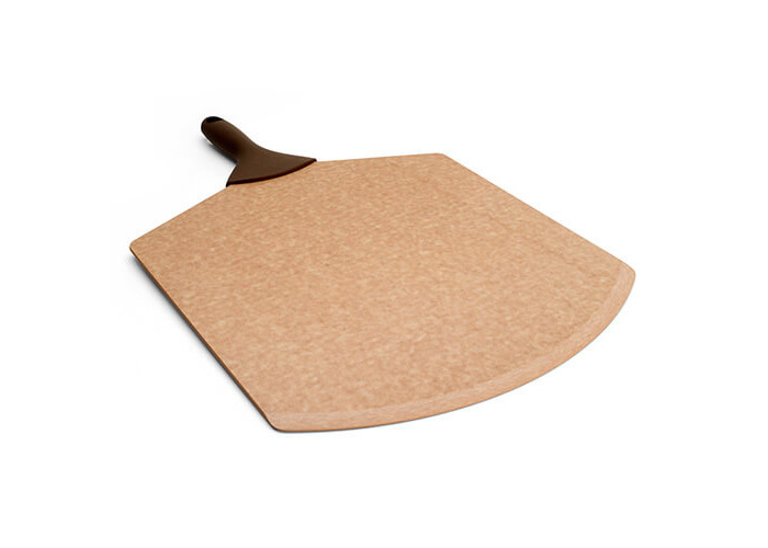 TopGourmet Pizza Peel Series Pizza Serving Board, Compressed Wood Composite, 52.5 x 35 x 0.49 cm, Natural with Brown Handle - 1