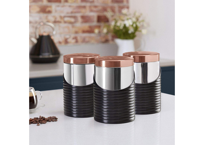 Tower Linear T826001RB Canisters - Black & Rose Gold - 2