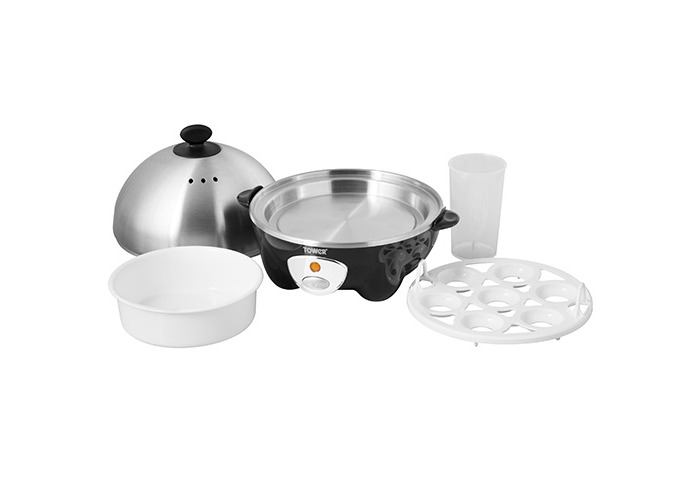 Tower T19010 7 Egg Cooker and Poacher, 360 W - Black - 2