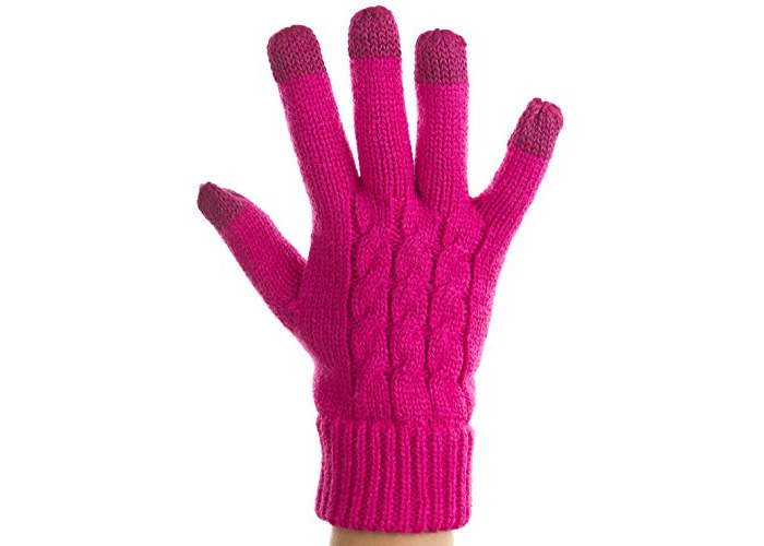 Trendz Medium Sized Touch Screen Cable Knit Gloves for Smartphones, Tablets and MP3 Device - Cable Knit Pink - 1