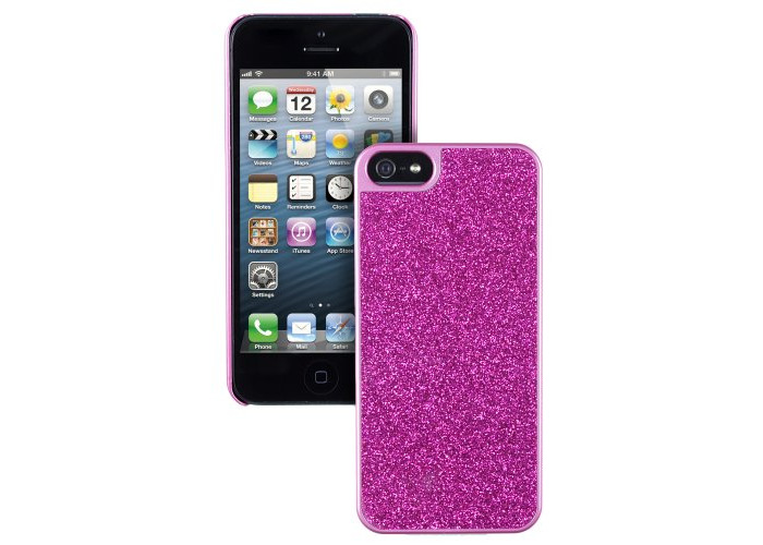 Trendz Patterned Hard Shell Protective Clip-On Case Cover for iPhone 5/5S/SE - Pink Glitter - 1