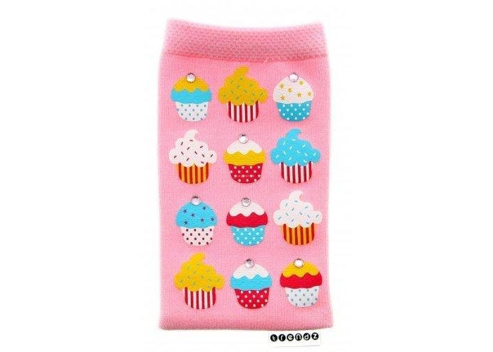 Trendz Universal Smartphone Sock for iPhones (iPhone 5/5S/SE and Previous Models Only), iPods and MP3 Devices - Pink Diamante Cupcakes - 1