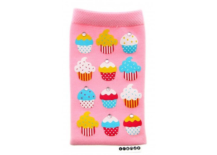 Trendz Universal Smartphone Sock for iPhones (iPhone 5/5S/SE and Previous Models Only), iPods and MP3 Devices - Pink Diamante Cupcakes - 2