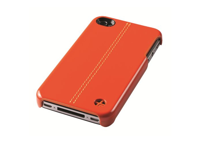 Trexta - Leather Snap on Cover Classic - for Apple iPhone 4, 4S - Orange - 1