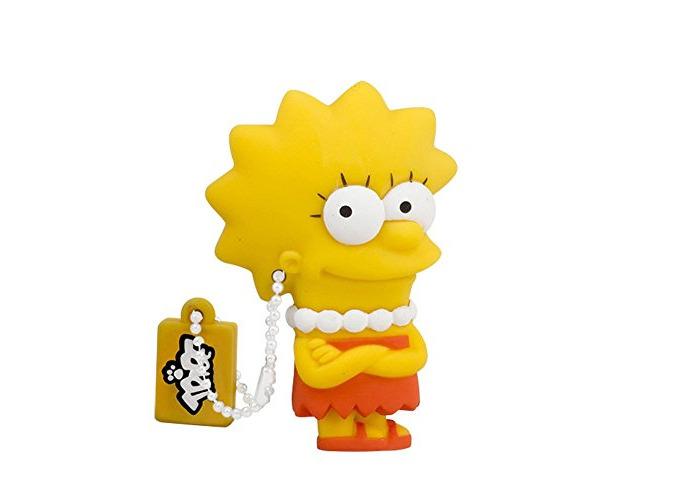 Tribe Simpsons Lisa USB Stick 8GB Pen Drive USB Memory Stick Flash Drive, Gift Idea 3D Figure, PVC USB Gadget with Keyholder Key Ring – Yellow - 1