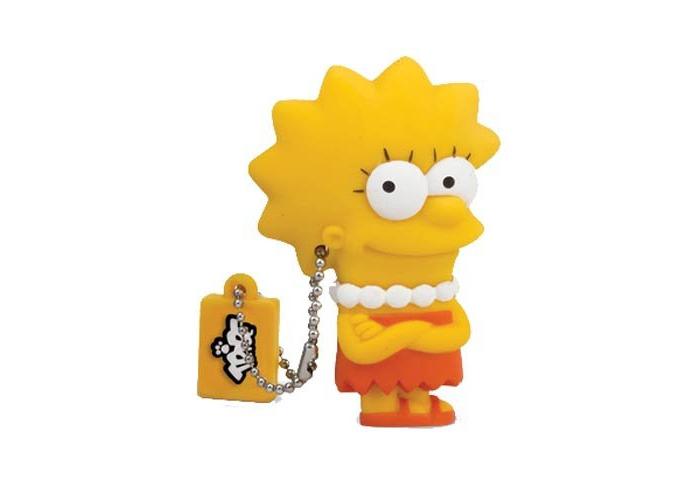 Tribe Simpsons Lisa USB Stick 8GB Pen Drive USB Memory Stick Flash Drive, Gift Idea 3D Figure, PVC USB Gadget with Keyholder Key Ring – Yellow - 2
