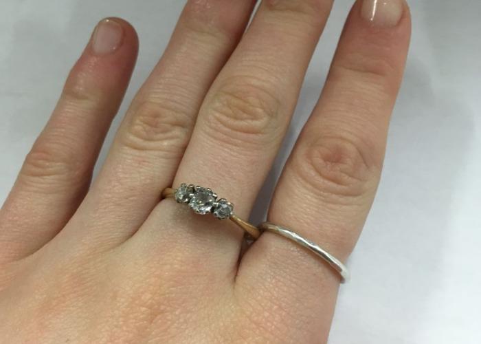 Trio of diamonds antique gold engagement ring - 1
