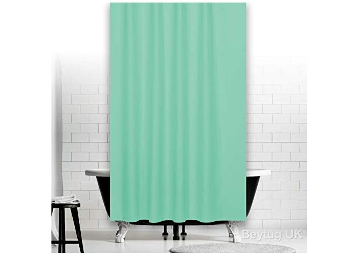"""Tropik Home Beautiful Green Fabric Extra Long Shower Curtain 180 x 200CM (71"""" x 78"""") - 1"""