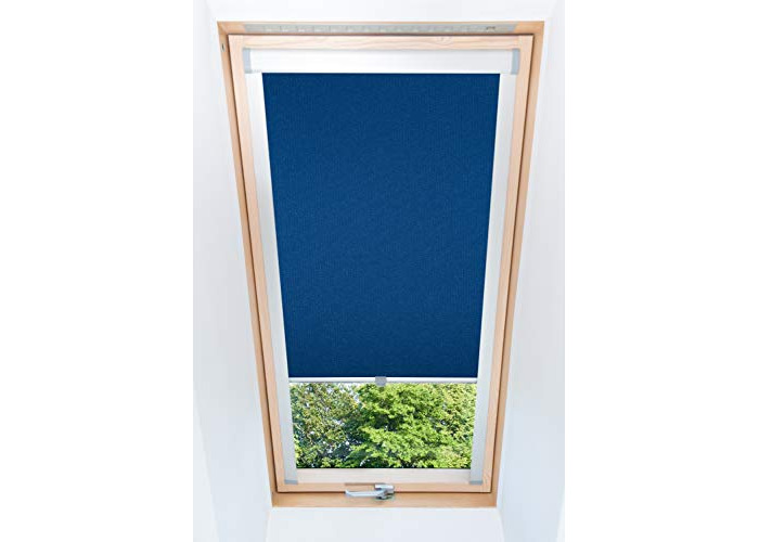 Tropik home Blue Blackout Thermal Skylight Roller Blinds For Velux Roof Windows, Many Sizes (S06/606/4) - 1