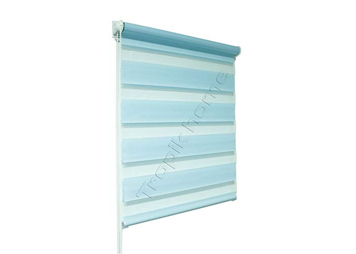 Tropik home Blue Day and Night Zebra/Vision Window Roller Blind, Choice of 16 Width Sizes, 65cm Wide (+4.5cm fittings) - 1