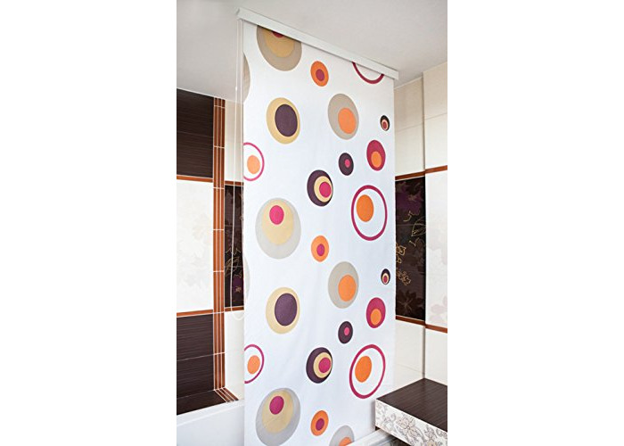Tropik Home Brilliant Shower Curtain Blind wide 160CM X long 240CM - Modern, Stylish, Waterproof - Absolute space saver (Rings) - 1